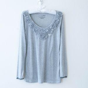 RoxB Gray Long Sleeve Knit Tunic Top Size M